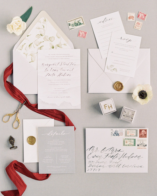 wax seal wedding invitations leafy wax seal