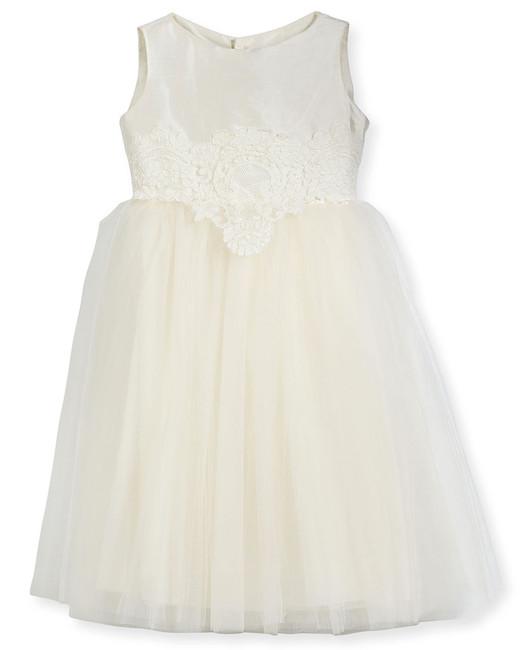 winter flower girl sleeveless white lace dress with tule skirt