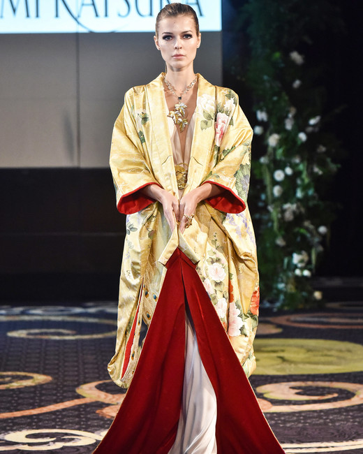 yumi katsura yellow and red kimono robe wedding dress fall 2018