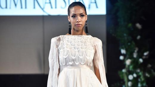 yumi katsura peplum high neck wedding dress with feather embellishments fall 2018