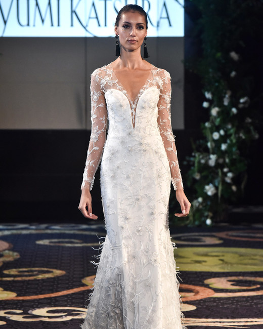 yumi katsura fall 2018 overlay long sleeve wedding dress