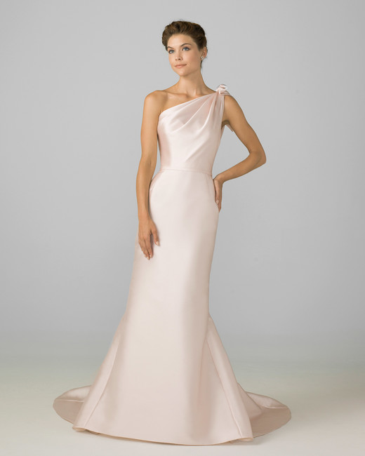 azul by liancarlo 2018 pink one strap  a-line wedding dress