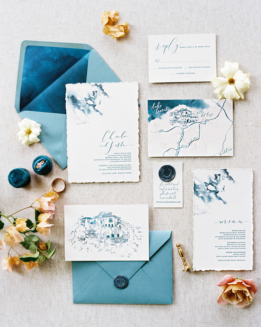 charla jesse wedding blue stationery