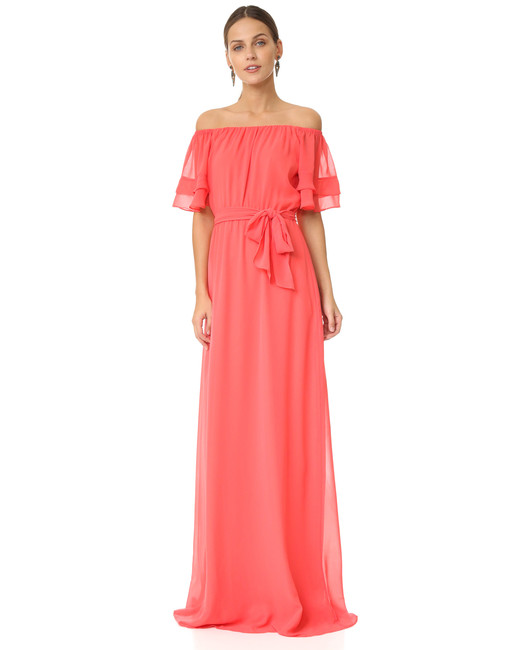 coral bridesmaid dress joanna august maggie