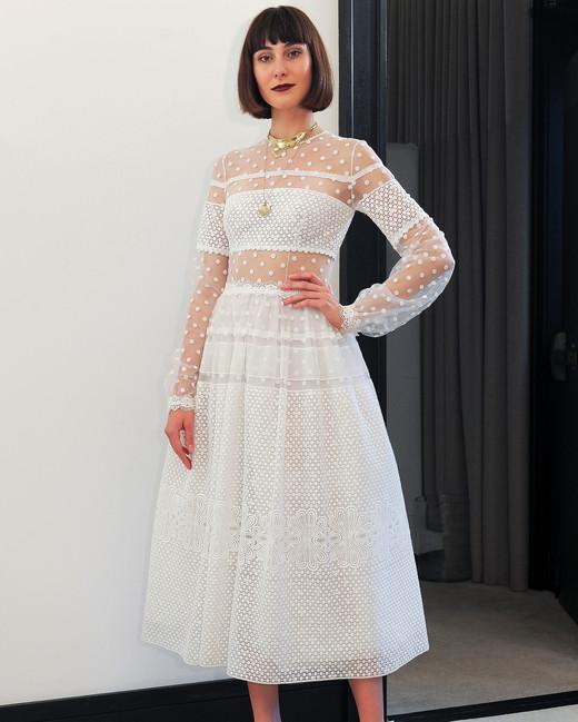 costarellos lace long sleeves tea length wedding dress spring 2018