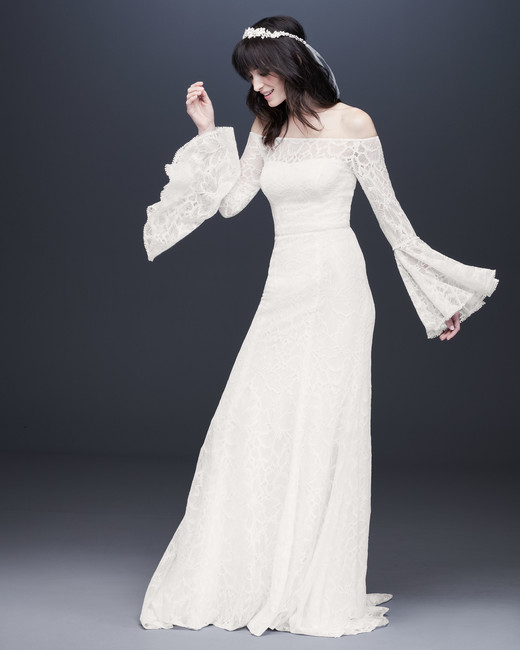 long bell sleeve off-shoulder wedding dress davids bridal galina Spring 2020