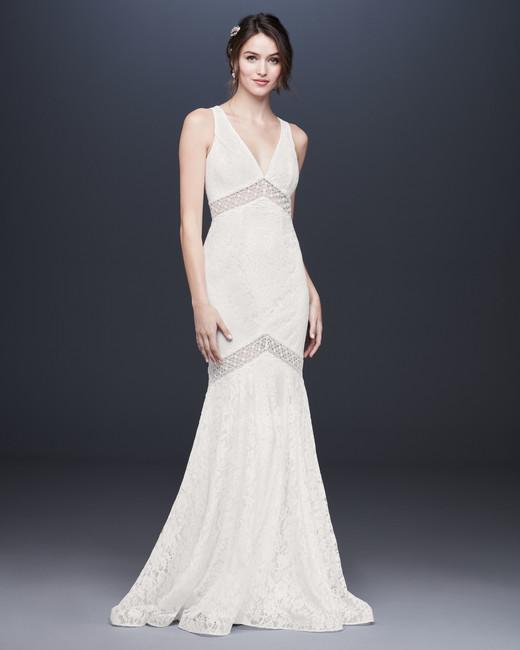 v-neck trumpet lace wedding dress davids bridal galina Spring 2020