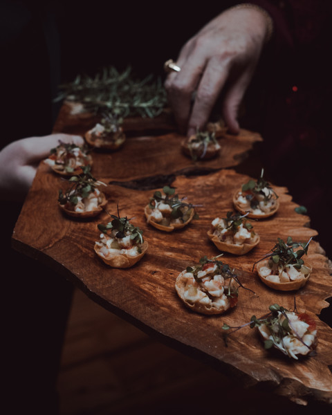 shrimp ceviche and beef empanadas hors d'oeuvres cocktail hour
