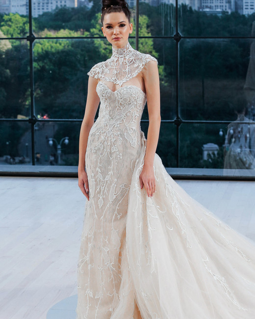 ines di santo wedding dress fall 2018 sweetheart capelet train