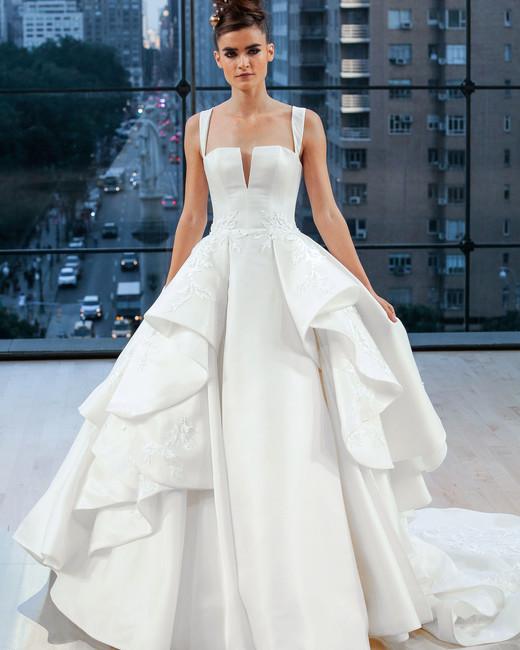 ines di santo wedding dress fall 2018 straps ruffle deep v ball gown