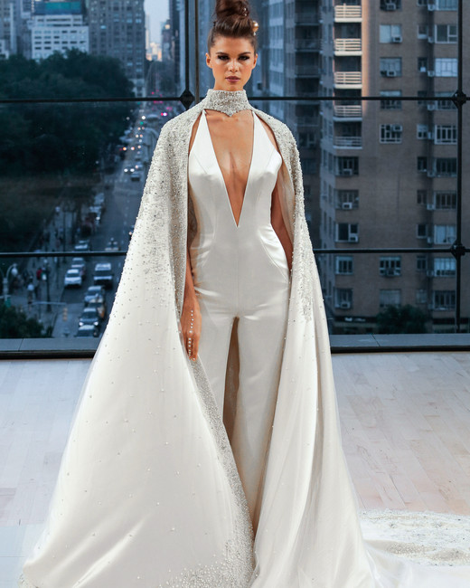 ines di santo wedding dress fall 2018 cape jumpsuit pantsuit deep v neck