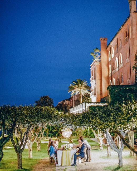 Italian olive grove reception dinner