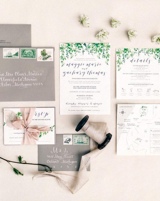 maggie zach wedding invitation