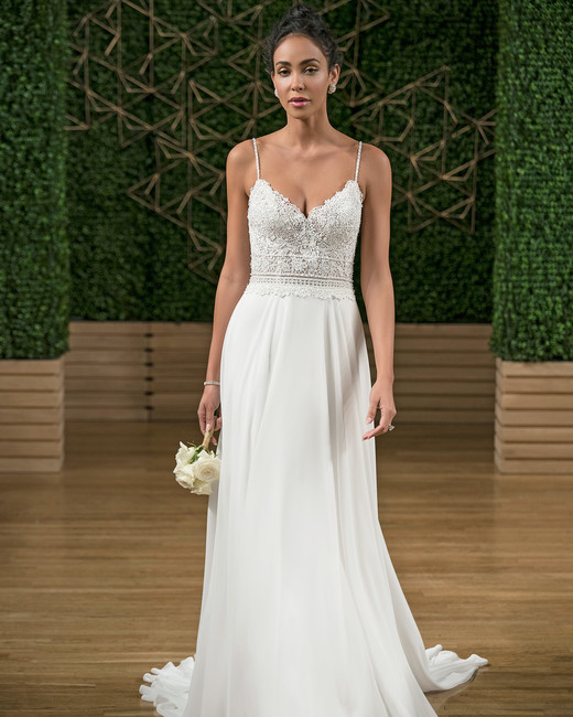 rebecca ingram spaghetti strap v-neck wedding dress fall 2018