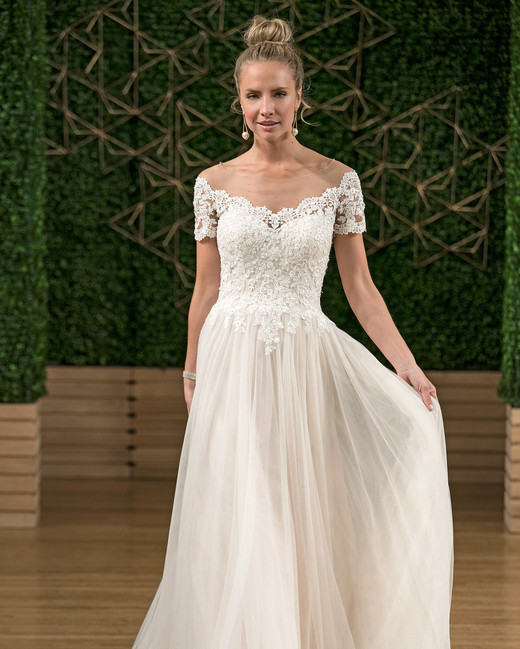 rebecca ingram off-the-shoulder wedding dress fall 2018