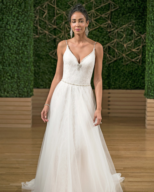 rebecca ingram spaghetti strap a-line wedding dress fall 2018