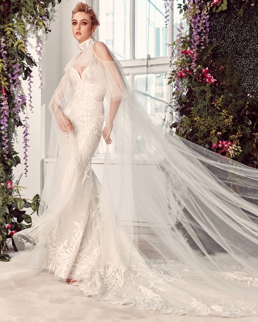 tulle cold shoulder cape sweetheart neckline lace mermaid wedding dress Rivini by Rita Vinieris Spring 2020