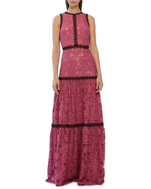 fuchsia and black lace maxi evening dress