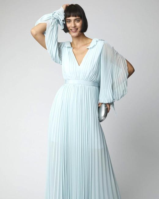 baby blue ruffled v neck maxi dress with long sleeves
