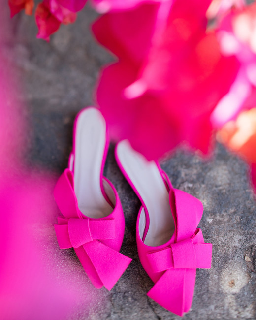 tashina huy colorful wedding pink shoes