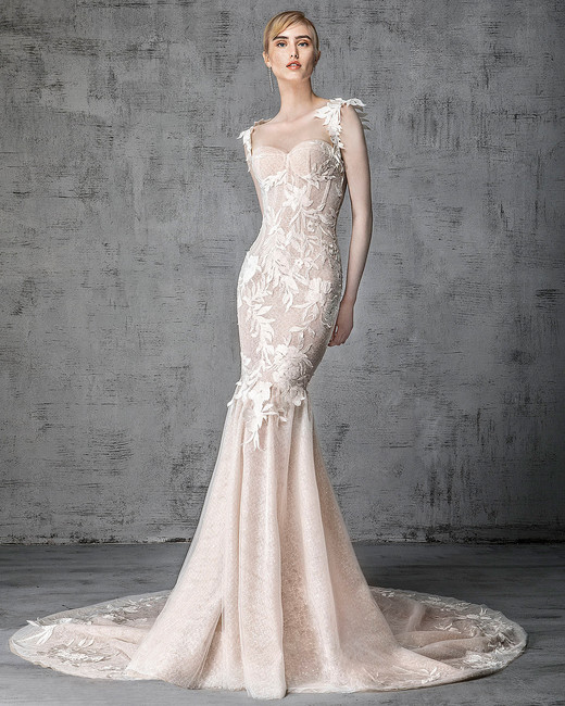 victoria kyriakides wedding dress spring 2019 structured bodice floral details