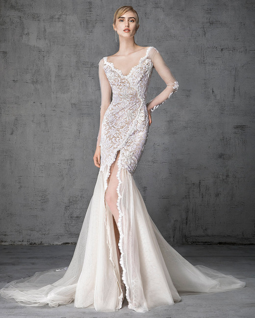victoria kyriakides wedding dress spring 2019 lace long illusion sleeves v-neck