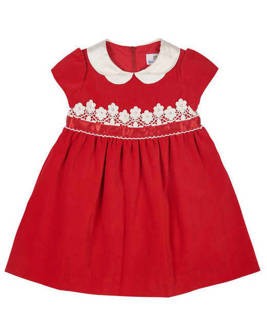 winter flower girl short-sleeved red velvet dress with white lace