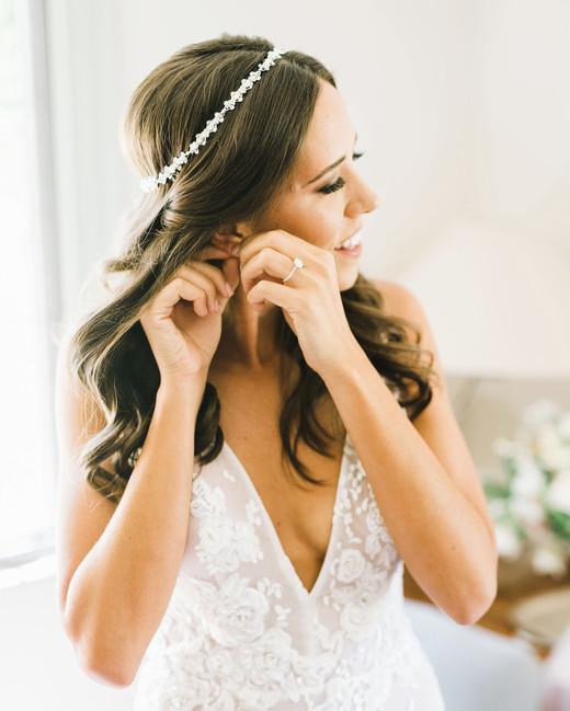 bride wearing dainty beaded crown