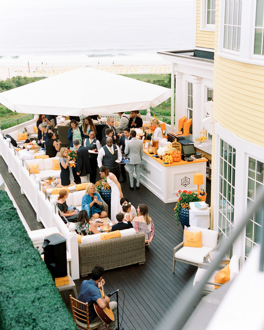 white and orange themed patio cocktail hour