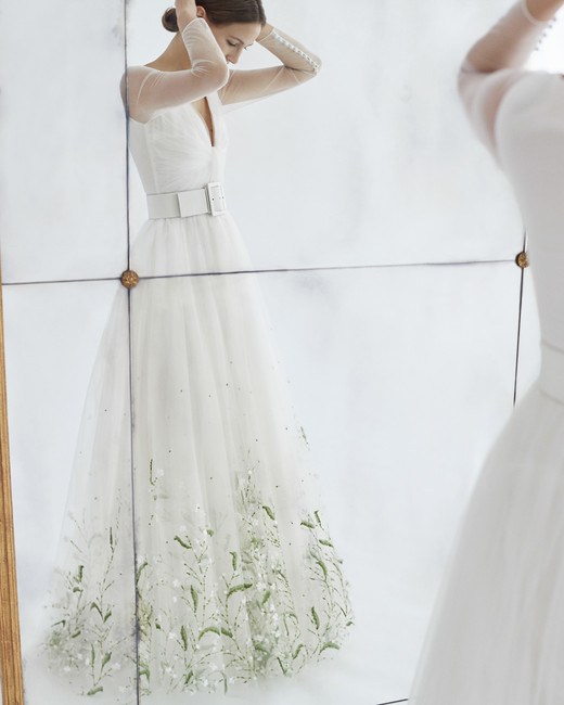 carolina herrera wedding dress fall 2018 tulle greenery embellished