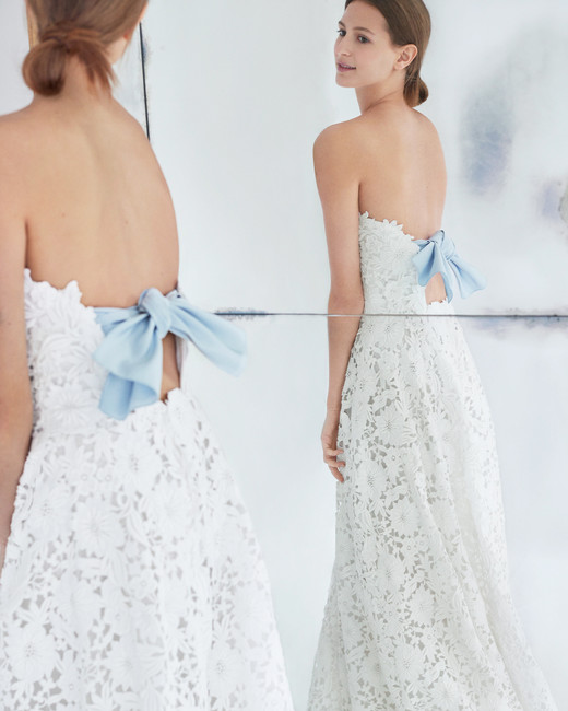 carolina herrera wedding dress fall 2018 floral lace blue back bow strapless
