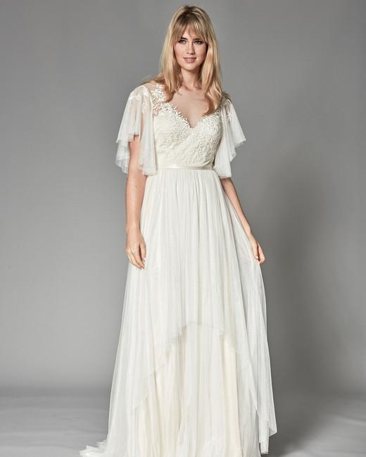 catherine deane fall 2018 flutter sleeves layered skirt