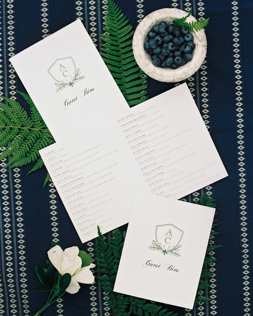 charles andrew wedding guest bios on blue fabric