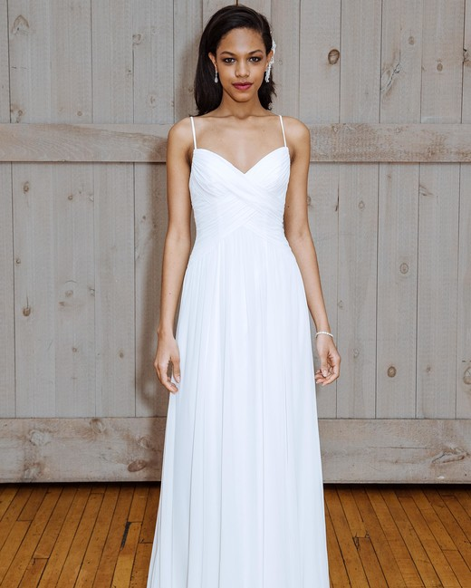 david's bridal spaghetti strap sheath wedding dress spring 2018