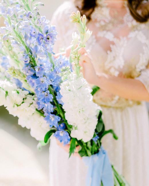 long stemmed delphinium wedding bouquet