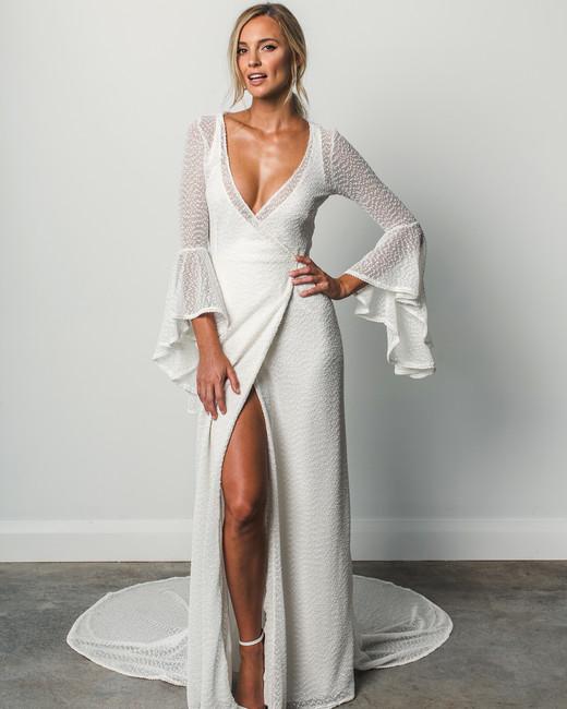 Grace Loves Lace V Neck Flutter Sleeve Spring 2018 Wedding Dress