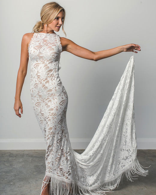 grace loves lace fringe high neck spring 2018 wedding dress