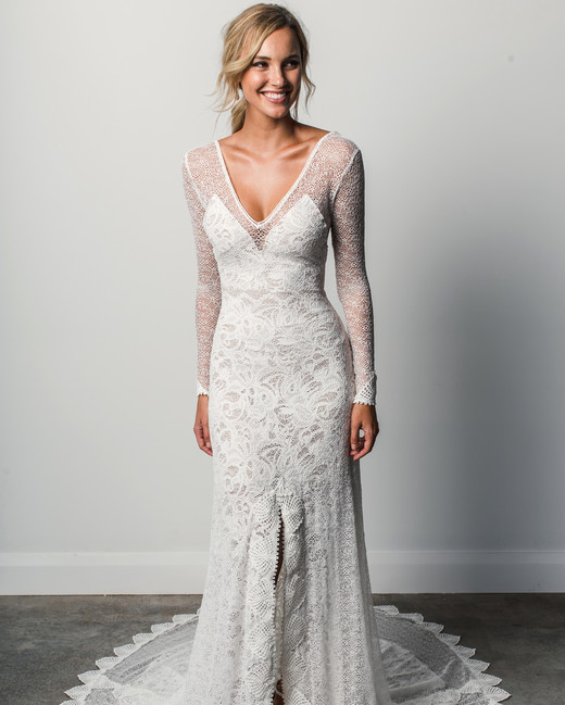 grace loves lace v-neck sleeves spring 2018 wedding dress
