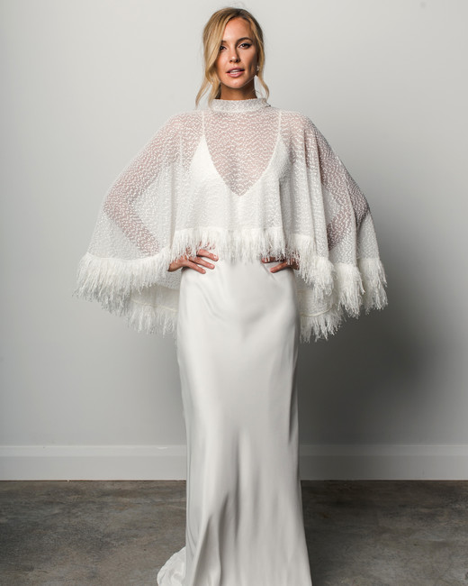 grace loves lace v-neck fringed poncho spring 2018 wedding dress