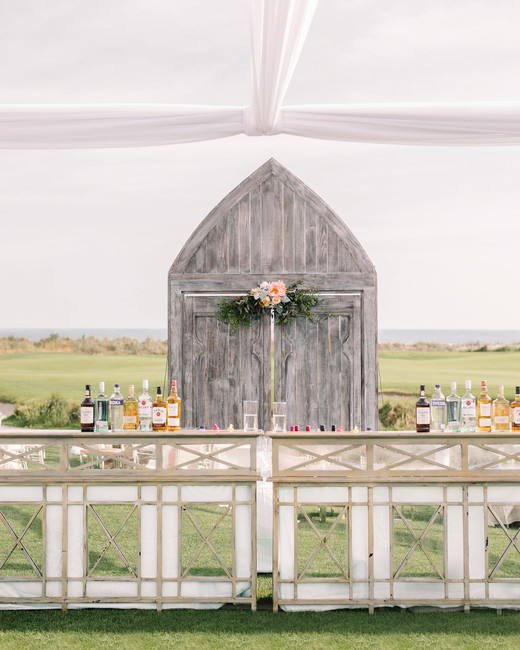 outdoor bar front with mirrors with wood door backdrop