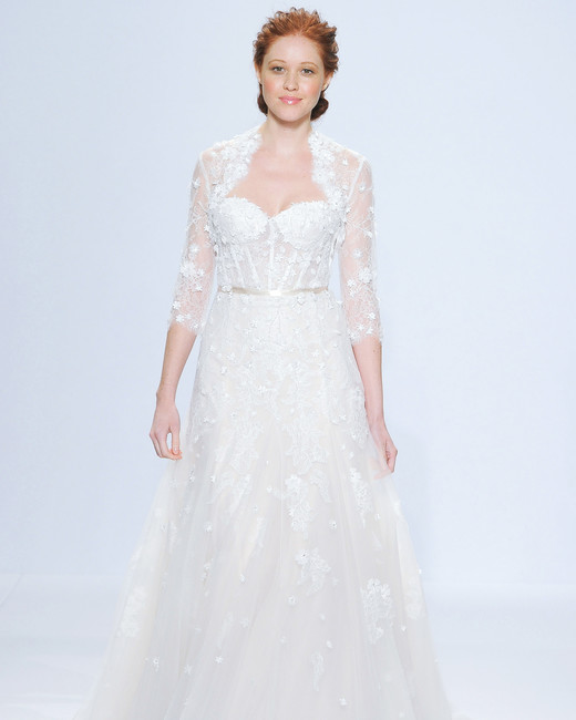 randy fenoli three-quarter sleeve wedding dress spring 2018