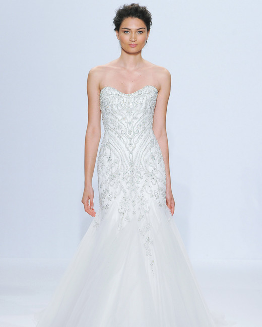 randy fenoli mermaid with pattern wedding dress spring 2018
