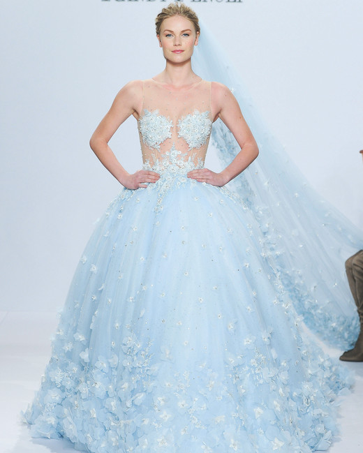 randy fenoli blue wedding dress with veil spring 2018