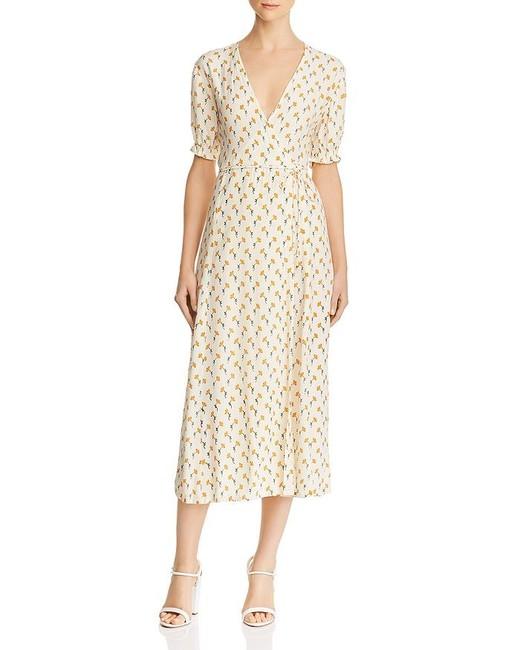 yellow floral print wrap midi dress