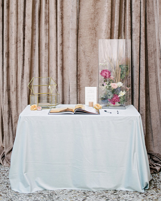 stephanie tim wedding guestbook table
