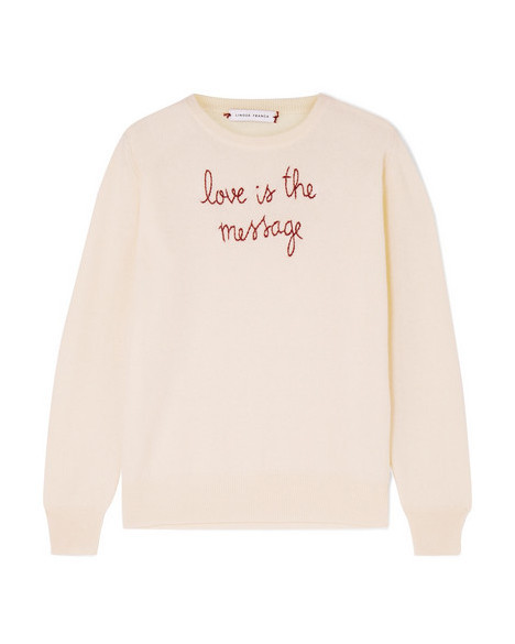"""Love Is the Message"" Embroidered Cashmere Sweater"