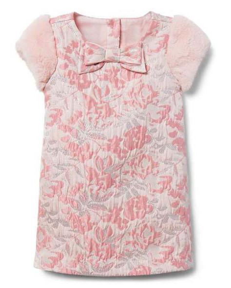 winter flower girl pink floral dress with fur short sleeves