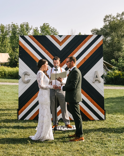 outdoor wedding freestanding patterned wall painted