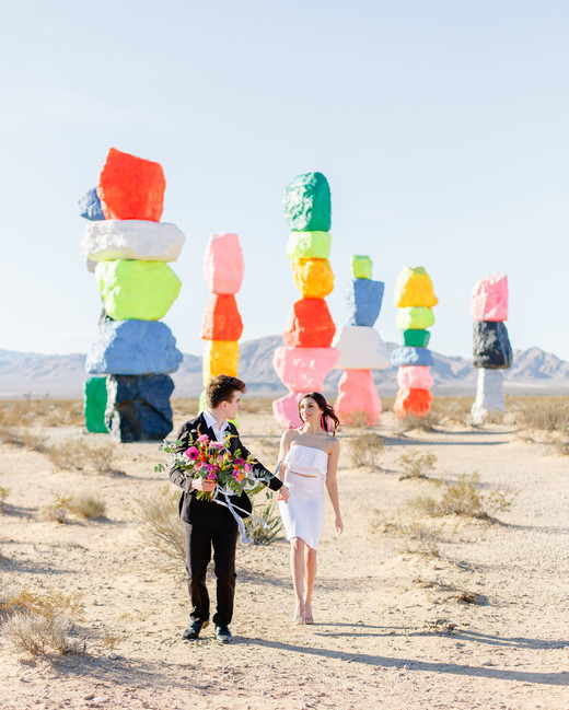 elopement outfit inspiration couple at seven magic mountains