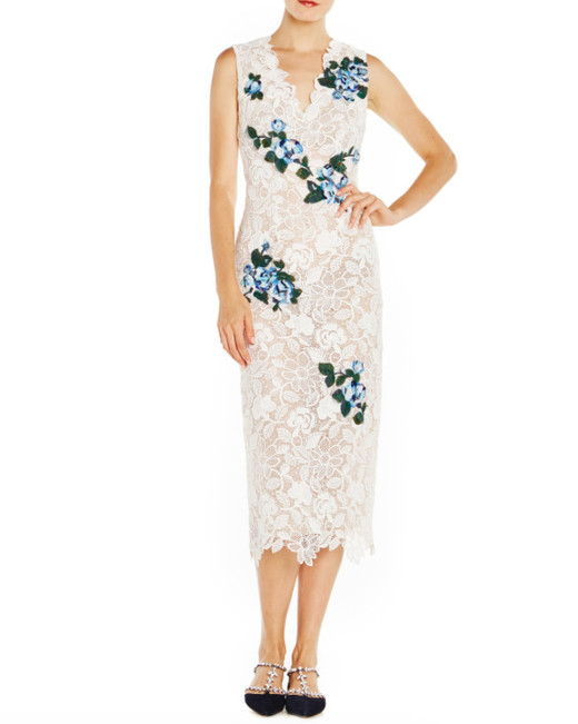 monique lhuillier lace dress with floral applique